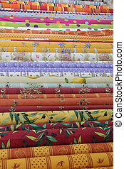 Rolls of Provencal textile - Traditional Provencal patterns...