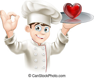 Love food - Illustration of a chef holding a heart on a...
