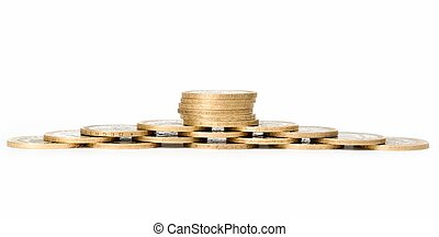 Treasure. Heap of coins on a white background