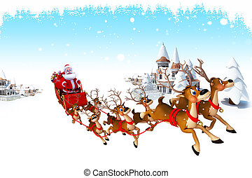 santa claus with his sleigh - 3d art illustration santa...