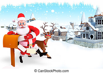 santa with letter box - 3d art illustration santa with...