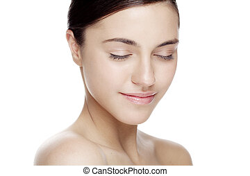 natural beauty face - fresh face with natural makeup, no...