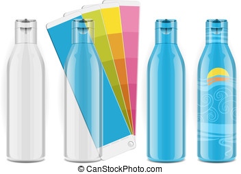Four plastic bottles with color palette and labels - this...