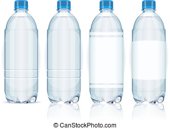 Four plastic bottles with labels. - Detailed illustration of...