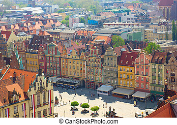 Wroclaw, Poland - market square in old town of Wroclaw,...