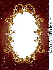 Vintage ornate frame on the dusty background