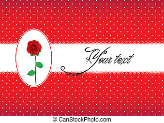 Polka dot card with rose - Polka dot lace card with red rose