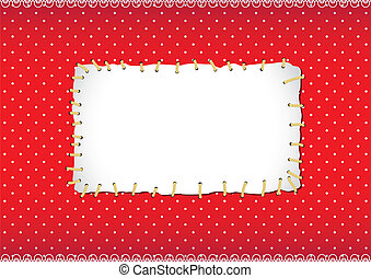 Polka dot frame with stitched patch - Red polka dot frame...