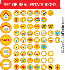 Set of 56 real estate icons - Set of 56 yellow real estate...