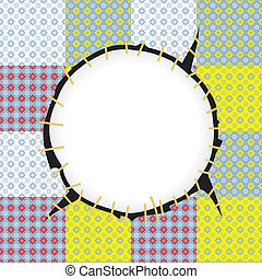 Round patch frame - Stitched round patch frame with flower...