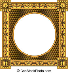 Traditional wooden frame - Traditional carved round wooden...