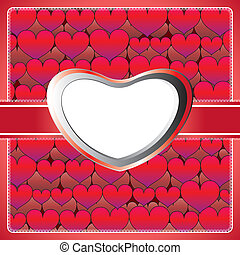 Heart lace frame - Lace frame with purple hearts on the...