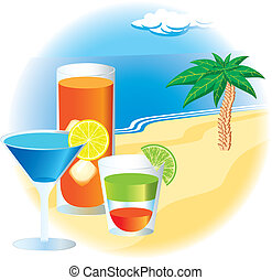 Beach with cocktails and palm tree - Beach with colorful...