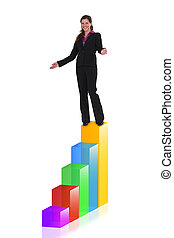 Businesswoman at the top of a bar chart