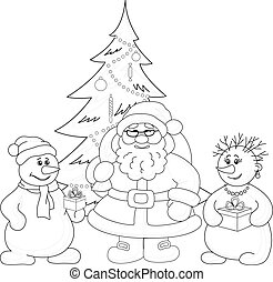 Santa Claus, Christmas tree and snowmans, outline - Holiday...