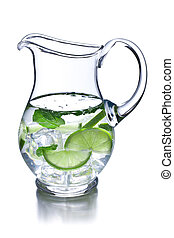 pitcher of lemonade on white background