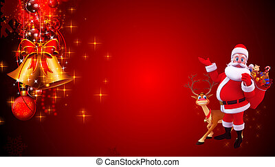 santa claus with reindeer - 3d art illustration santa claus...
