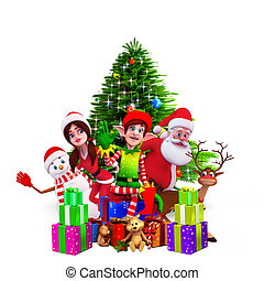 santa with christmas tree and gifts - 3d art illustration of...