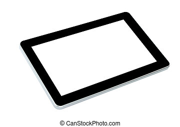 Touch screen device on white background