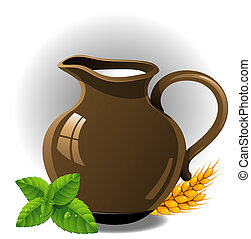 Milk jug - Jug of milk. Vector illustration. EPS 10, AI,...