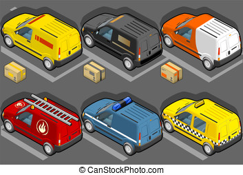 Isometric van in six models, delivery, firefighters, police,...