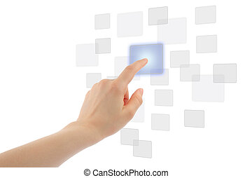 Woman hand using touch screen interface on white background