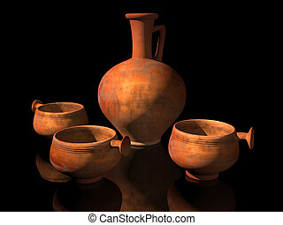 Ancient Roman Pottery - Illustration of ancient Roman...