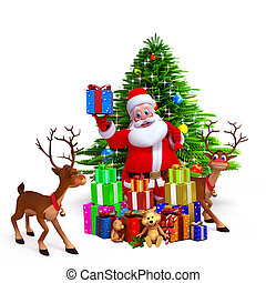 santa with lots of gifts and deer - 3d art illustration of...