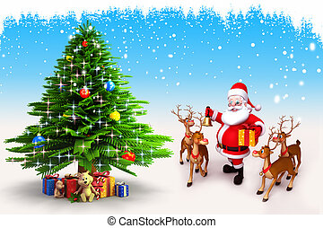 santa claus with christmas tree - 3d art illustration of...