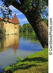 City wall Weissenburg, Bavaria - Medieval city wall with a...