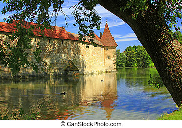 City walls of Weissenburg, Bavaria - Medieval city wall with...