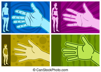 Figure in four different types of hand, man, woman, child, simple.