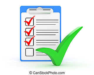 Checklist and Clipboard with white background. 3d...