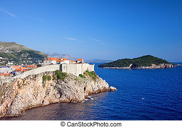 Dubrovnik and Lokrum Island on Adriatic Sea - Walled Old...