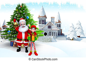 santa with elves and christmas tree