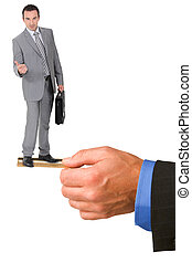 Businessman hitching a ride on someone's credit card
