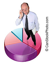 Businessman standing on a graphic pie chart