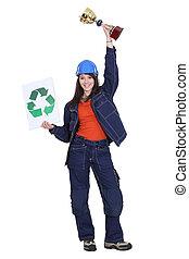 hembra, constructor, tenencia, trofeo, reciclaje, logotipo
