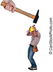 Builder cowering