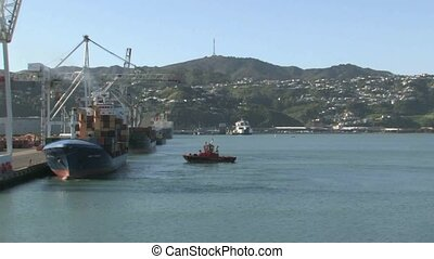 Container ship at Wellington port - Welington, New Zealand...