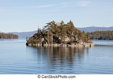 Fannette Island is the only island in Lake Tahoe,...
