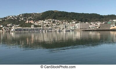 Pan across Wellington waterfront - Wellington, New Zealand...