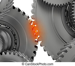 Overloaded mechanism - pinion mechanism warmed to the point...