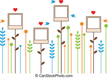 photo frame flowers, vector