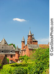 Castle in Collonges la rouge - Typical red castle in French...