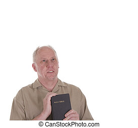 Old Guy Holding Bible and Looking at Heaven