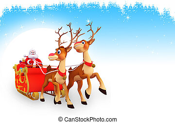 santa and sleigh on blue background - 3d art illustration...