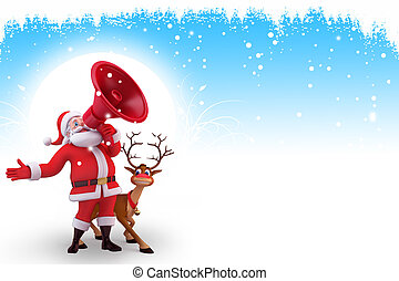 santa with loud speaker and reindee - 3d art illustration of...