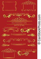 set of golden caligraphic design elements - vector set of...