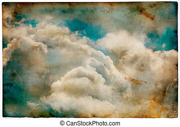 Grunge old paper with cloudy sky, retro style background